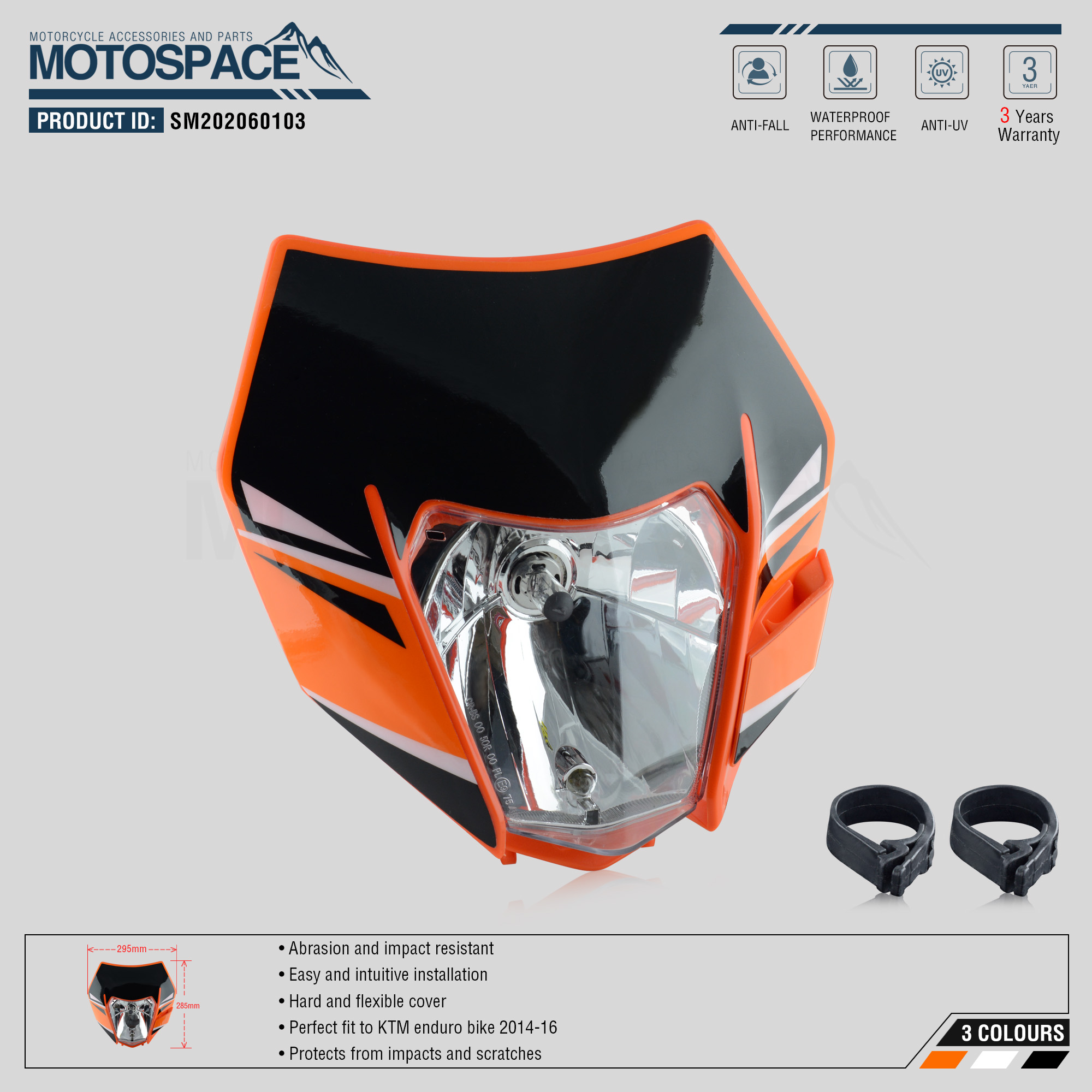 Spacemotors Headlight Headlamp With Sticker For KTM SX F EXC XCF SMR 2014 2015 2016 Motorcycle Dirt Bike MX Enduro Supermoto
