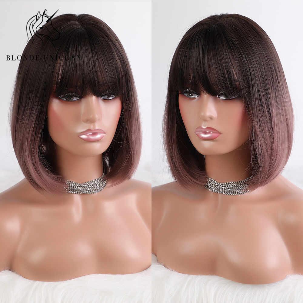 Blonde unicorn 14 Polegada em linha reta sintético curto bob peruca ombre luz roxo peruca de cabelo com franja lolita cosplay perucas para mulher
