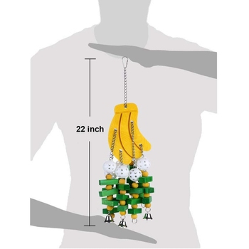 1Pc Wooden Parrot Toy Birds Colorful Large Chewing Hanging Cage Toy Parakeet Cockatiel Budgie Play Toy Pet Bird Supplies 2