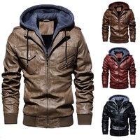 Men PU Leather Outwear Hoodie Motorcycle Coat Biker Style Waterproof  Warm Zipper Cycling Jackets  for Fall Winter Warm Coat