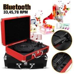Plastik Kayu Retro 33/45/78 Rpm Bluetooth ID/Int/BT 2.0 Koper Turntable Vinyl LP catatan Pemain Ponsel 3-Speed 3.5 Mm Aux Di