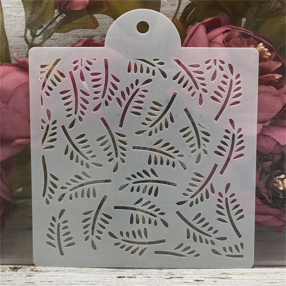 1Pcs 6inch Leaves Texture DIY Layering Stencils Wall Painting Scrapbook Coloring Embossing Album Decorative Card Template