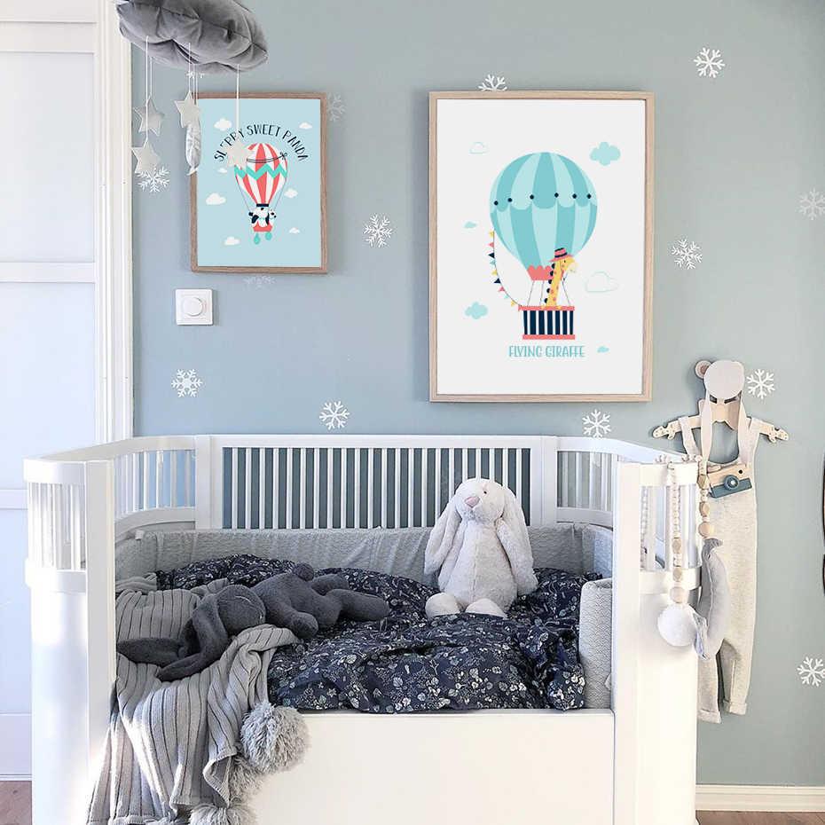 Słodkie słoń żyrafa Swinging obraz przedszkole Decor piękny dla dzieci pokój zabaw na płótnie malarstwo ścienne plakat artystyczny drukuj Home Decor