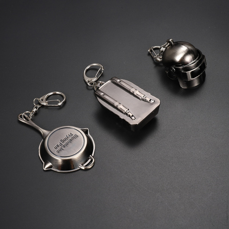 <font><b>PUBG</b></font> <font><b>Level</b></font> <font><b>3</b></font> <font><b>helmet</b></font> Pan backpack Keychain Game Playerunknown's Battlegrounds Surrounding Weapons Alloy Cosplay Props Pendant New image