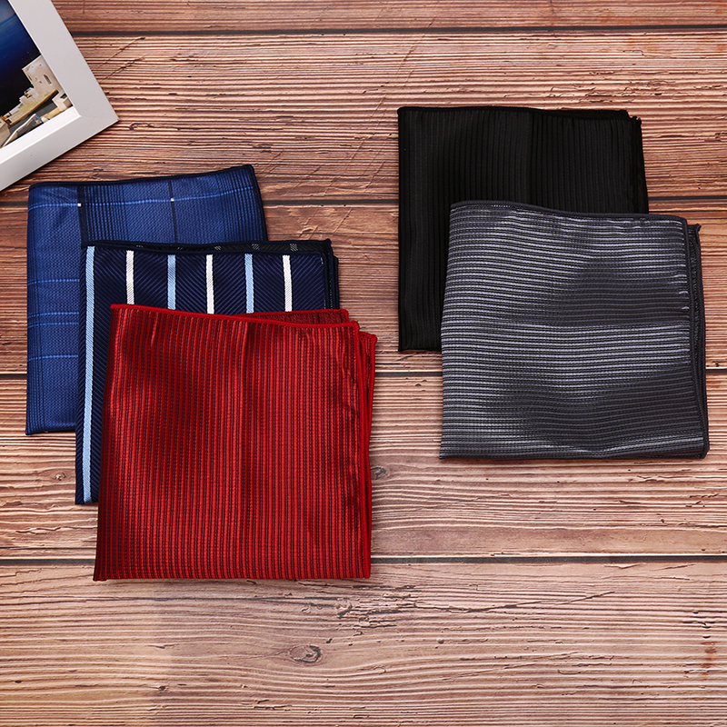 Men's Handkerchief Polka Dot Striped Floral Printed Hankies Polyester Business Pocket Square Chest Towel 23*23CM