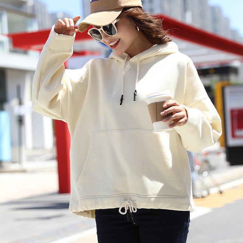 Women's Front Kangaroo Pocket Sweatshirt Velvet Oversized Hooded Ladies Long Sleeve Hoodie 2019 Autumn Solid Female Casual Hoody
