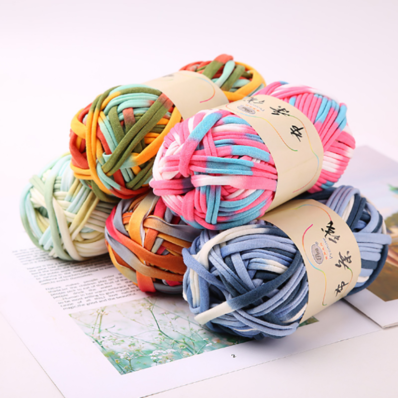 Fancy Cloth Yarn For Handmade Crochet Bag Soft Cotton Blended Yarn For Hand Knitting Blanket Cushion 2cm 30m