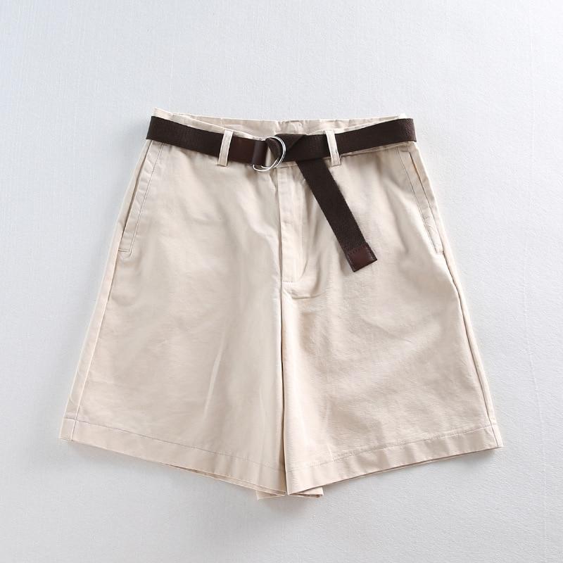 Bermuda Shorts Female Casual Summer Shorts Women Loose Wide Leg Pantalon With Belt Students Khaki White Balck Wide Leg Capris