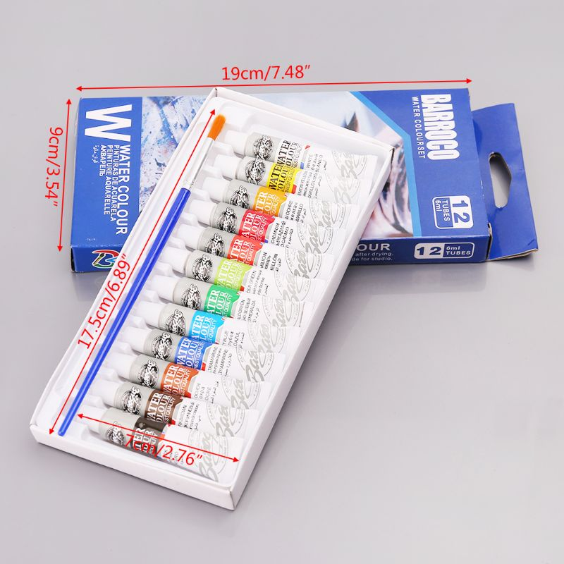 12 Colors Tubes 6ml Paint Tube Drawing Painting Watercolor Pigment Set With Brush Art Supplies L41E