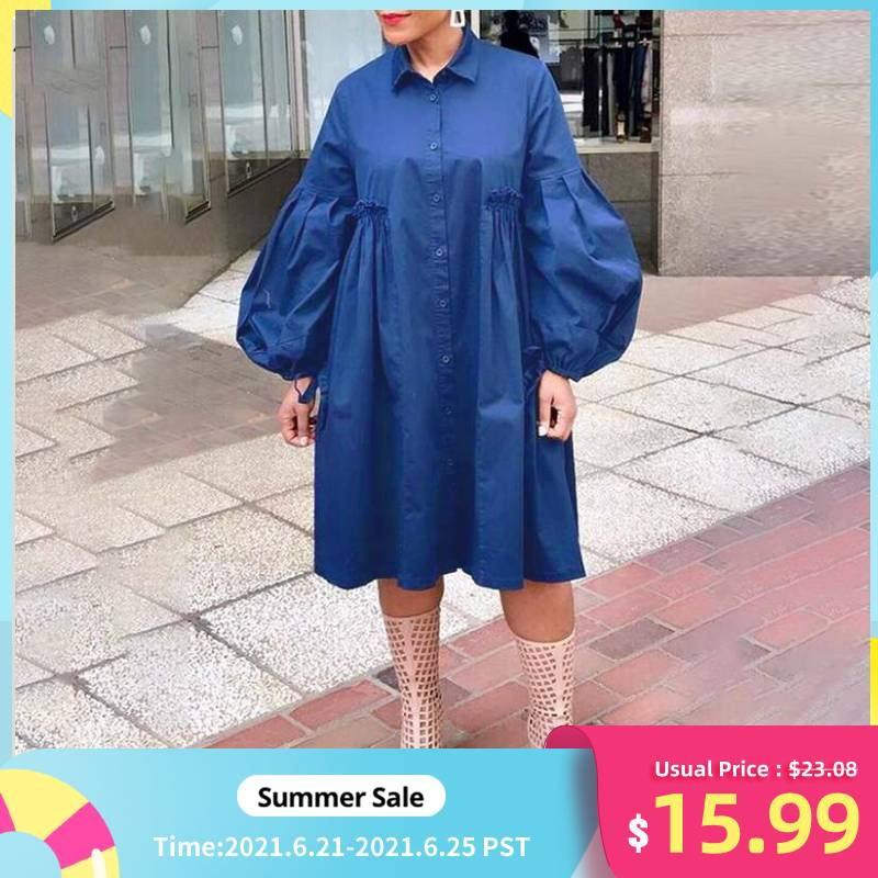 VONDA 5XL Women Dress 2021 Autumn Turn Down Neck Long Lantern Sleeve Dresses Plus Size Bohemain Vestidos Knee-Length Sundress