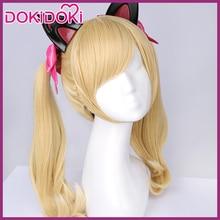 DokiDoki Cosplay Game Wig OW DVA D.va Black Cat Hair Women Heat Resistant Blonde