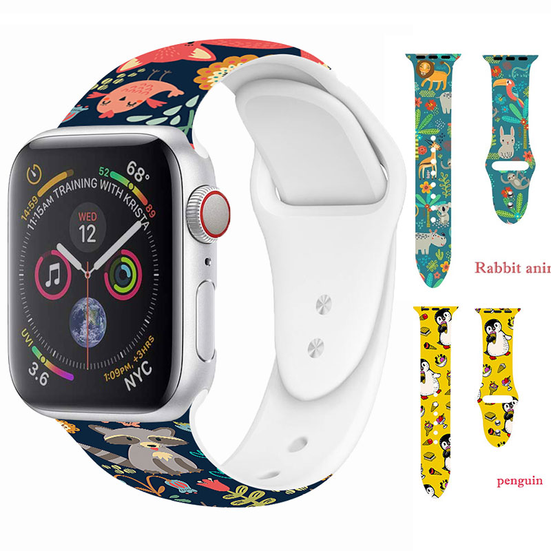 For Apple Watch 5 4 3 2 1 For Woman Floral Flower Bands 40mm 44mm Silicone Printed Strap For IWatch Series 4 3 2 38mm 42mm