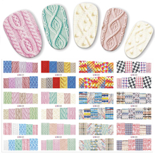 12 sztuk/zestaw Beauty sweter tkanina naklejka ze wzorem woda Transfer naklejki do paznokci paznokcie naklejki kolorowe etykiety JIBN517 528