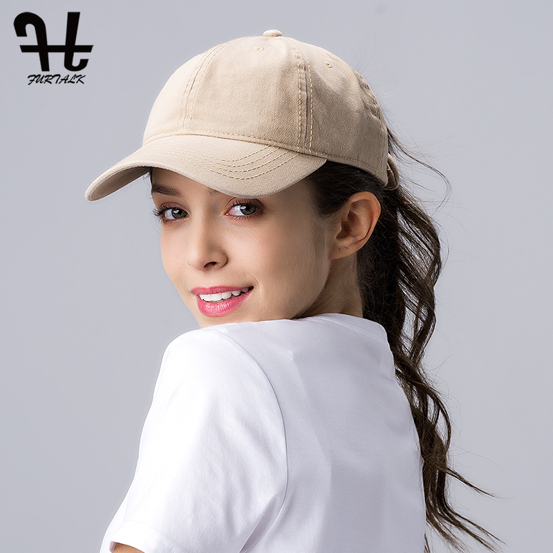 FURTALK Ponytail Baseball Cap For Women Vintage Black Baseball Caps Mens Snapback Hip Pop Cap Washed Cotton Hat For Female