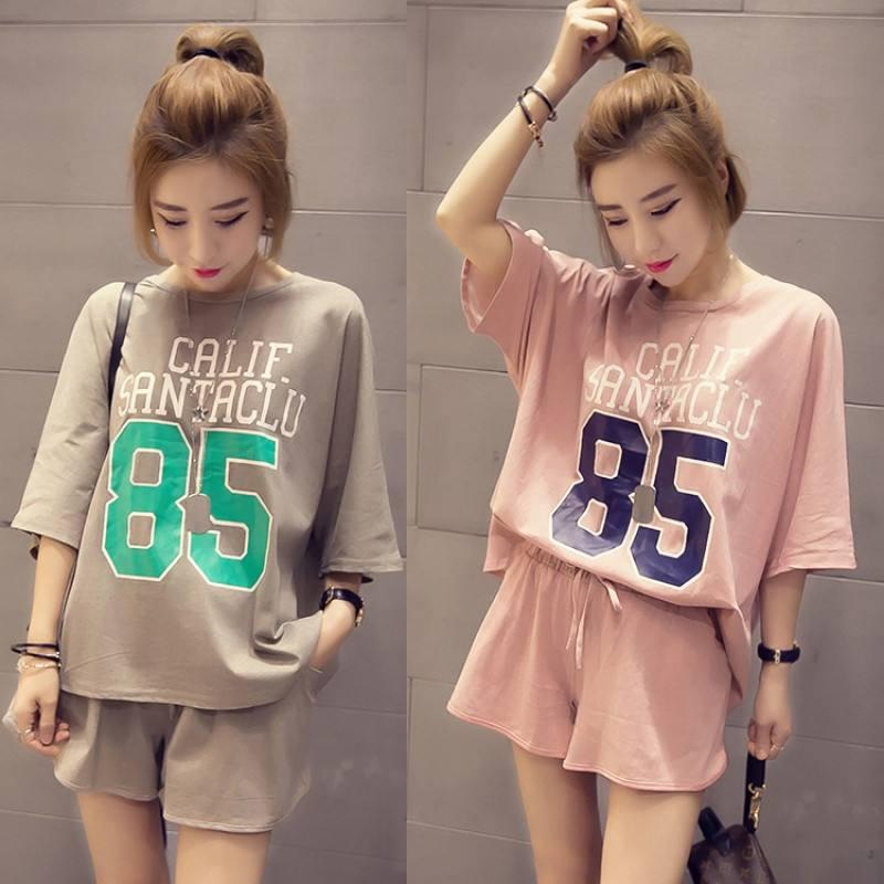 Loose-Fit Plus-sized Summer New Style Korean-style 85 # Short Sleeve Shorts Women's Casual Pajamas Homewear Set