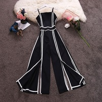 Women Striped High Waist Wide Leg Patchwork Strap Chiffon Jumpsuits Summer Split Rompers
