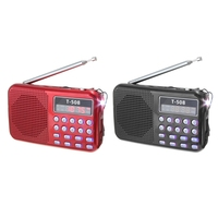 2 Set T508 Mini Portable LED Light Stereo FM Radio MP3 Music Player TF USB Speaker, Black & Red