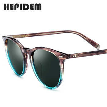 HEPIDEM Polarized Sunglasses Classical Brand Designer Gregory Peck Vintage Men Women Round Sun Glasses 100% UV400 5288 9122 1