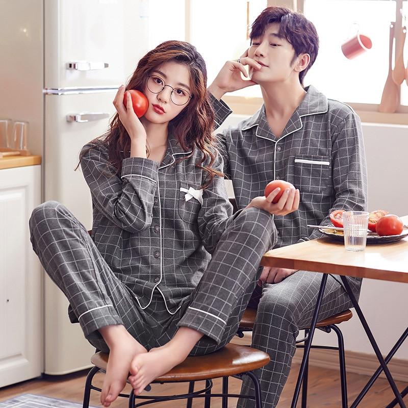 Couple Pajamas Set Autumn Cardigan Pyjamas Women And Men Pajamas Long Sleeve Sleepwear Men Lounge Pijama  Plus Size M-3XL