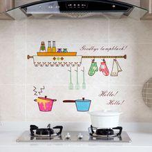 Прозрачные анти-масляные наклейки на стену для кухни плита самоклеющиеся высокотемпературные водонепроницаемые декоративные Мультяшные наклейки