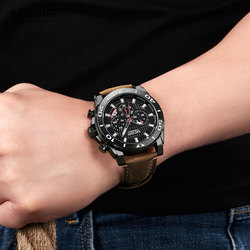 Mens Leather Strap Army Sports Quartz Watches Waterproof Luminous Chronograph Wristwatch Man Relogios Clock 2094 Black