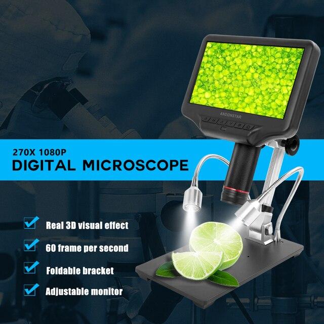 مجهر رقمي ثلاثي الأبعاد AD407 مقاس 7 بوصات بأبعاد 270X 1080P واجهة متعددة الوسائط ميكروسكوبات لمسافات طويلة للإصلاح ولحام