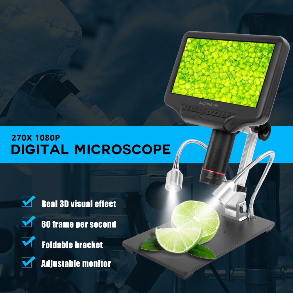 AD407 7 Inch 3D Digital Microscope 270X 1080P Multimedia Interface Long Object Distance Microscopes for Repairing SolderingMicroscopes   -