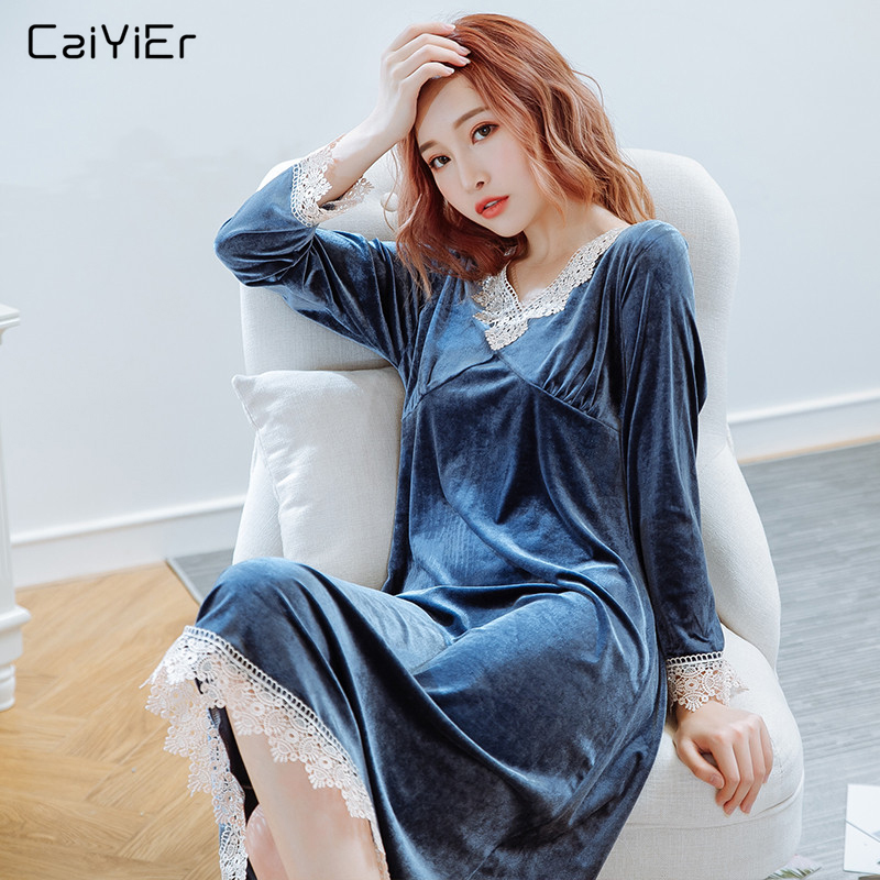 Caiyier Autumn Winter Sexy Lace Nightgown Long Sleeve Thick Pleuche Nightdress Causal V-Neck Ladies Sheepshirts Plus Size M-5XL