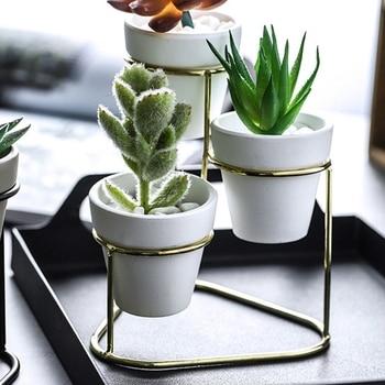 Maceta para plantas de escritorio de hierro, tres juegos de maceta para plantas, maceta redonda de cemento con estante de hierro Simple, decoración del hogar