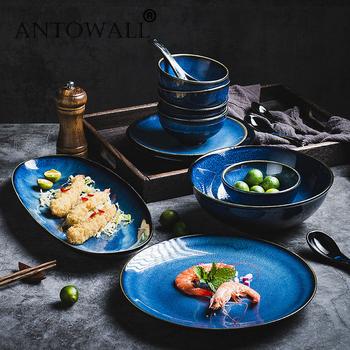 ANTOWALL Nordic ceramiczny zachodni talerz głęboki okrągły talerz zupy talerz kreatywny pieczenia ryż talerz talerz sałatkowy duży dom tanie i dobre opinie CN (pochodzenie) Stałe ROUND
