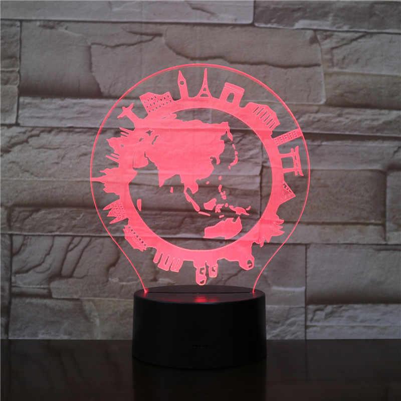 3d lâmpada aldeia global melhor presente para crianças sensor de toque decoração original para festival 7 cores com controle remoto led night light lâmpada