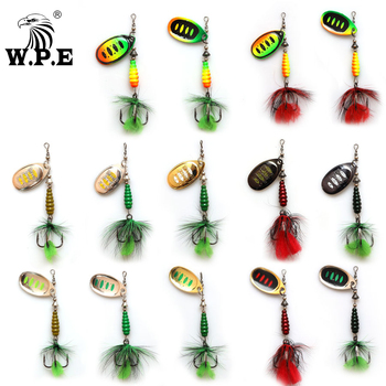 W.P.E KOMODO 2pcs Spinner Lure 8.5g Brass Metal Spoon Fishing Lure Feather Treble Hook Bass Lure Hard Bait Fishing Tackle Pike ftk fishing lure spinner bait lures 1pcs 8g 13g 19g metal bass hard bait with feather treble hooks wobblers pike tackle