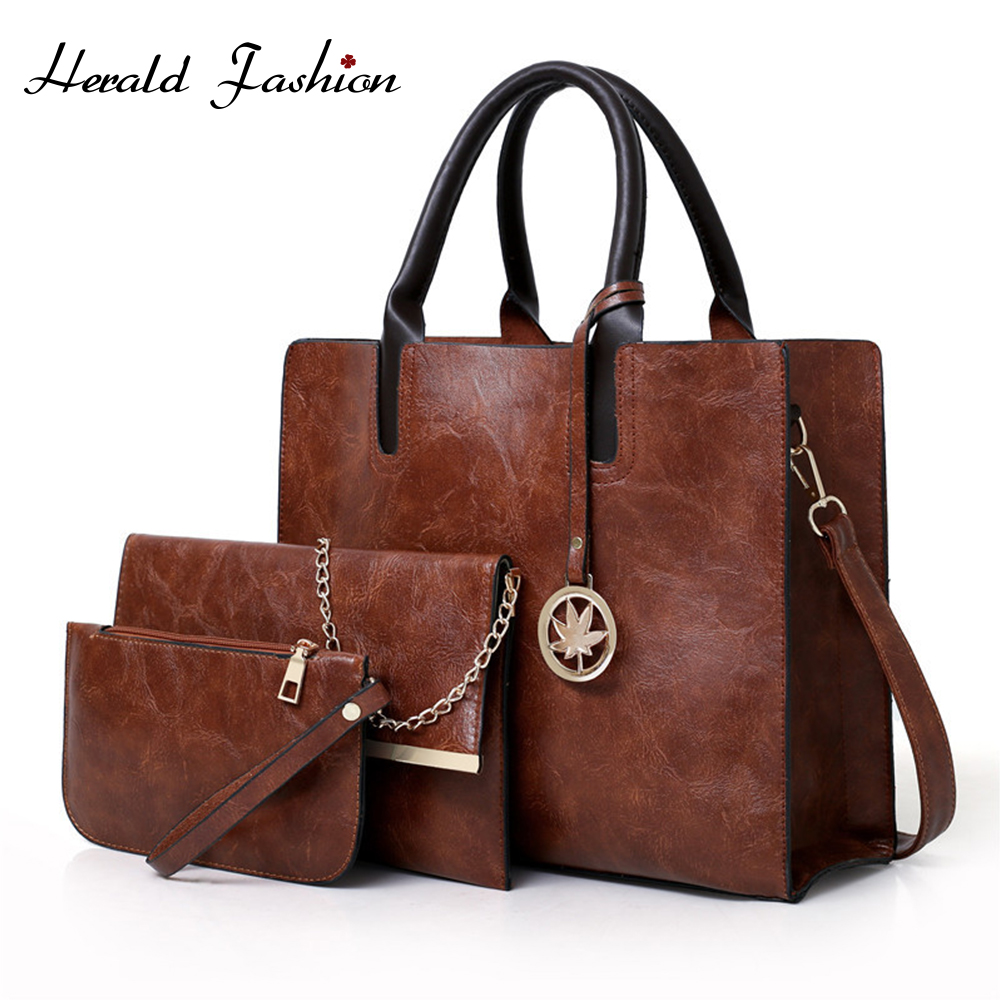 Herald Fashion Women Bags Set 3 Pcs Leather Top-Handle Bags Women Large Tote Bags Lady Shoulder Bag Handbag Messenger Bag Purse