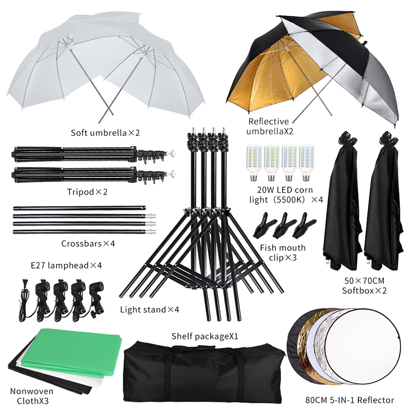 2.6M x 3M/8.5ft x 10ft Background Support System and 20W LED 5500K Umbrellas Softbox Continuous Lighting Kit 2