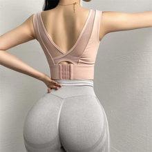 Sujetador deportivo de soporte de alto impacto para mujer, Top corto acolchado con hebilla ajustable de realce para Yoga, Top de entrenamiento gimnasio sujetador, ropa interior para correr