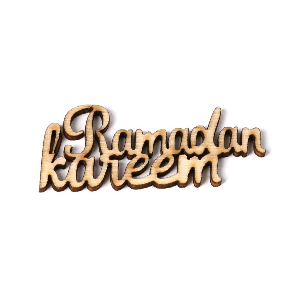 15pcs Wooden Eid Mubarak Ramadan Party Supplies Ornament DIY Plaque Pendant Festival Home Decoration