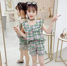 Summer Clothes For Girls Fashion Sleeveless Tops & Shorts 2 PCS Sets Baby Kids Girls Clothing Outfits Plaid Children's Clothes