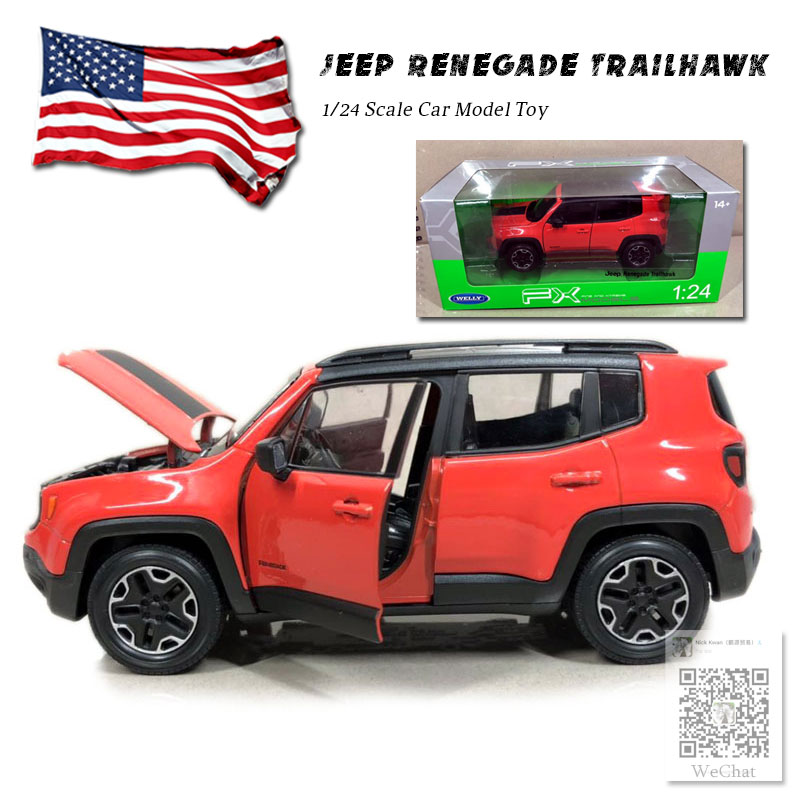RIAN DAY 1/24 Scale SUV Car Model Toys Jeep Renegade Trailhawk Diecast Metal Car Model Toy For Gift/Collection/Kids