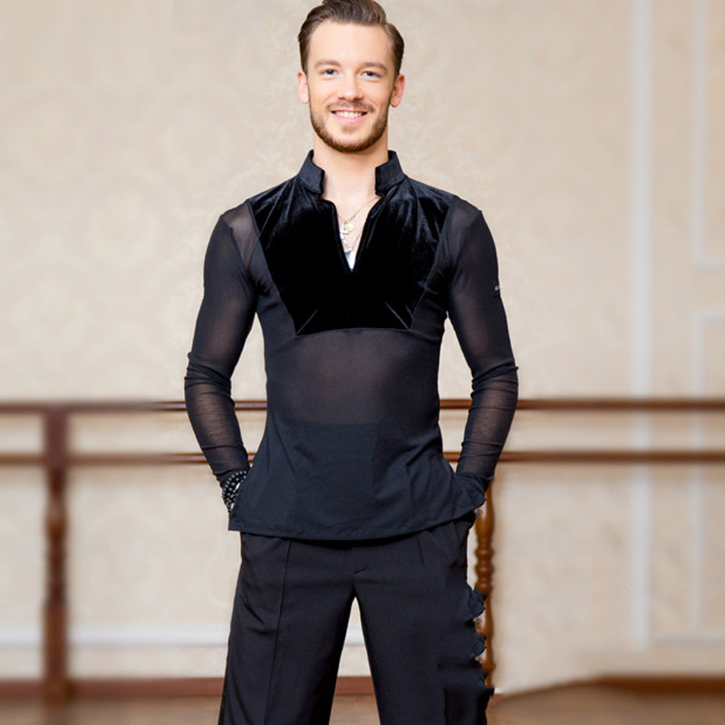Sexy Elastic Mesh Men Ballroom Latin Dance Tops Sale Cha Cha Rumba Long Sleeves Stand Collar Competition Dancing Wear DL5229