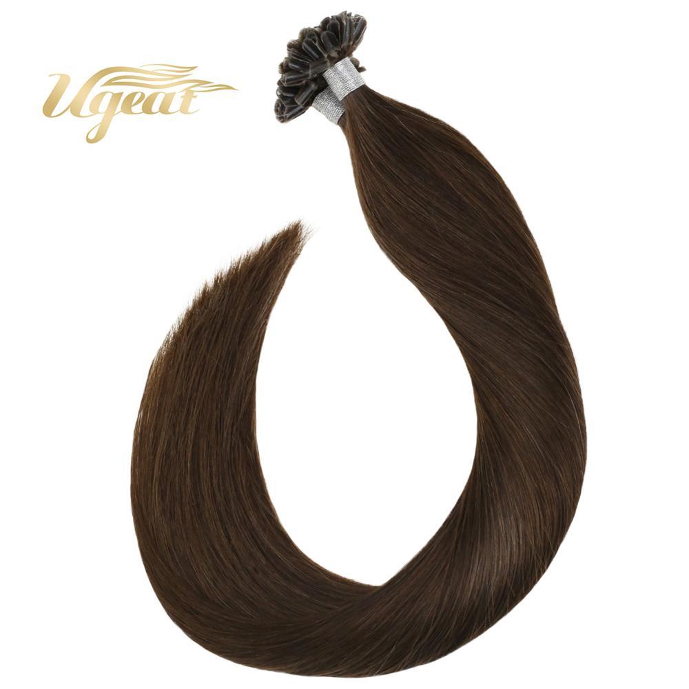 Ugeat Nail Tip Hair Extension 100% Real Human Hair Brown #4 Machine Remy Hair Natural Straight 50g/100g U Tip Hair Extension