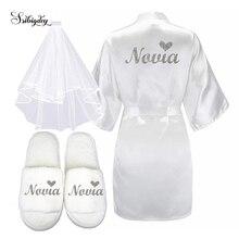 3pc set of glitter silver novia bride short robe slippers br