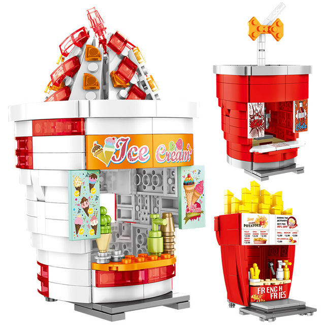 SEMBO City Street View Buildings Blocks Friends Hamburgers Ice Cream Shop Truck Food Store Bricks House Toys For Children