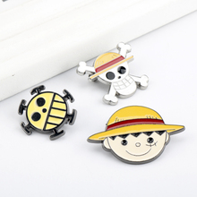 Hot Cartoon One Piece Pins Straw Hat Luffy Brooch значки Shirt Bag Lapel Badge 1pc Wholesale Aesthetic Enamel Pin Jewelry Gift sitaicery white cartoon smile teeth enamel brooches pin for nurse dentist hospital lapel pin hat bag pins shirt women brooch