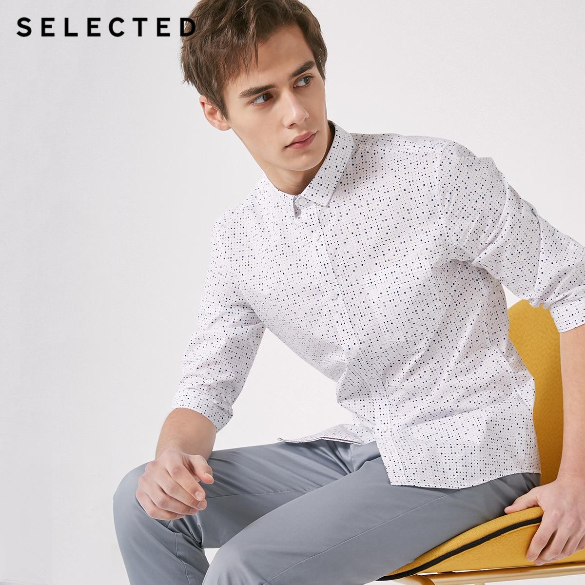 SELECTED Men's Slim Fit Polka-dot Trendy Slim Casual Cropped 3/4 Sleeves Shirt S|419131501