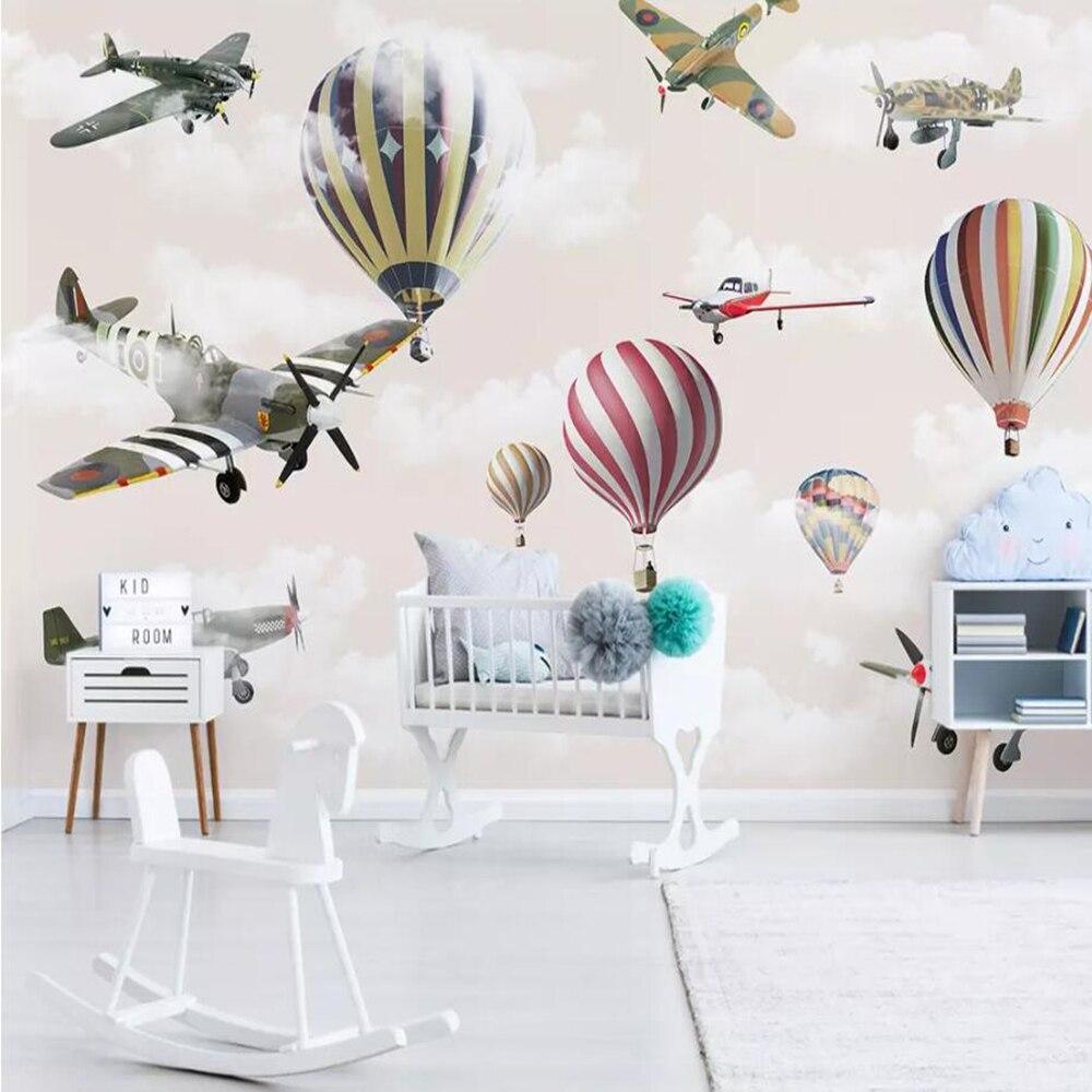 Dropship Custom 3D Wallpaper Mural Hand-painted Cartoon Airplane Balloon Children Room Sky Background Wall Decoration Wallpaper
