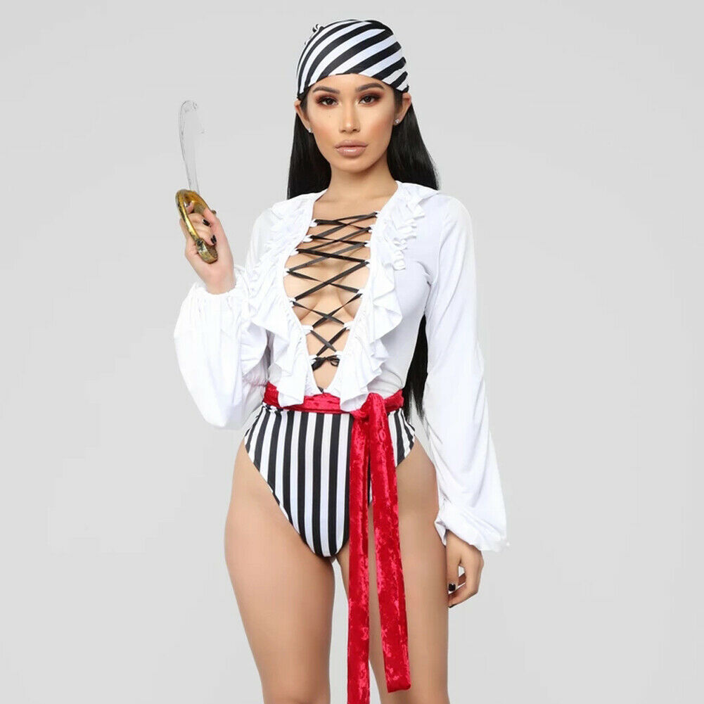 Newest Women Pirate Costume Halloween Fancy Party Ruffles Bandge Jumpsuit Carnival Performance Adult Pirate Cosplay Costumes