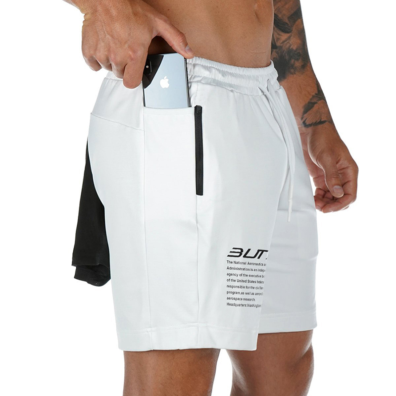 2020 Summer Running Shorts Men 2 in 1 Sports Jogging Fitness Shorts Training Quick Dry Mens Gym Men Shorts Sport gym Short Pants 4
