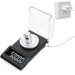 Image 1 - 0.001g الدقة ميزان إلكتروني 100g/50g/20g الرقمية وزنها جوهرة مجوهرات ميزان الماس مختبر المحمولة الوزن مليغرام