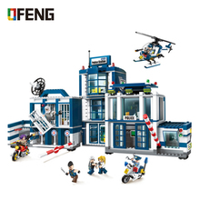 City Police Station Building Blocks Brick SWAT Truck Car Ship Helicopter Model Educational Toy Gift for Children