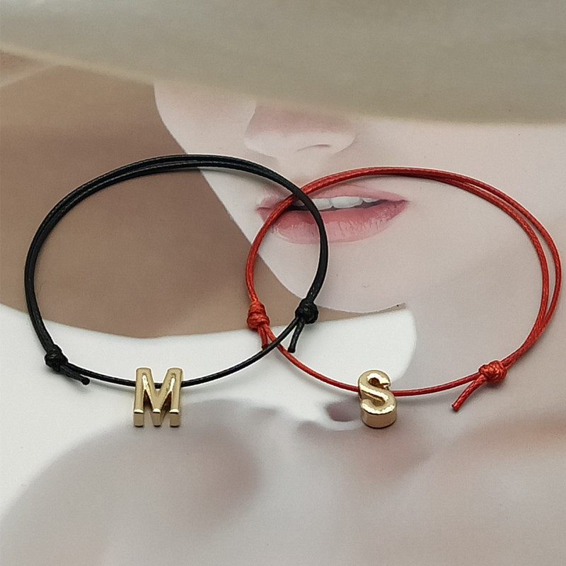 Name Initial Letter Anklets For Women Golen Color Adjustable Lucky Rope Ankle Bracelet Foot Jewelry Accessory Wholesale